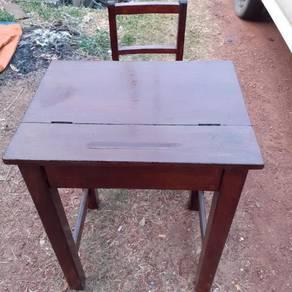 EEQ antik meja kerusi sekolah kayu lama resak jati