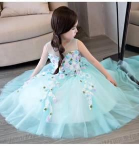 Blue puffy wedding bridal kids prom dress KPD2