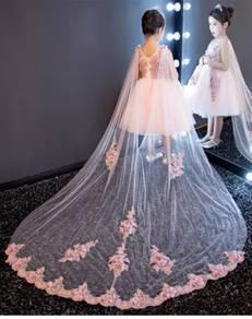 Pink puffy wedding bridal kids prom dress KPD1
