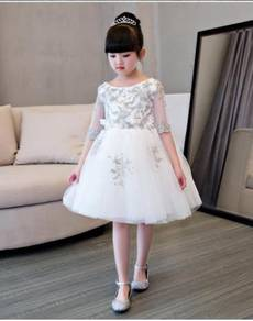 White pink wedding bridal kids prom dress KPD6