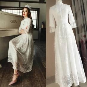 White lace long sleeve maxi dress elegant boho