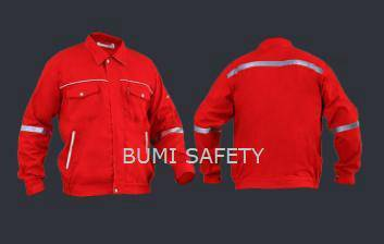 Safety working jacket waistband red
