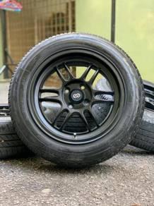 Enkei rpf1 15 inch sports rim honda jazz tyre70%