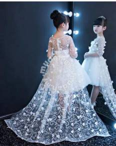 White flower puffy wedding bridal kids prom dress
