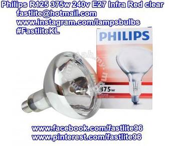 Philips R125 375w 240v E27 clear Infra Red bulb