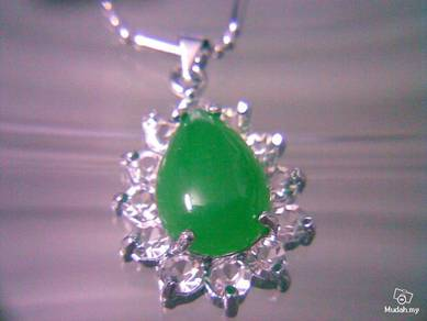 ABPJ-T013 Water Tear Drop Green Jade Silver Neckla