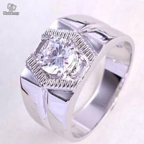 ABRWG-M001 White Gold Filled Top CZ Mens Ring S8.5