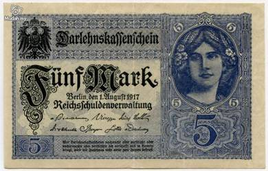 Germany 5 marks 1917 vf