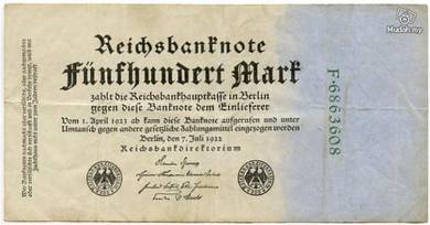 Germany 500 marks 1922 vf