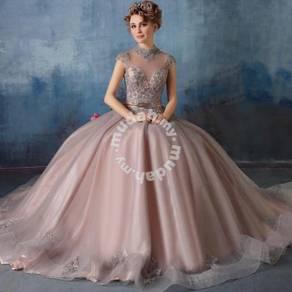 High Neck Appliques Sequins Gorgeous Wedding Gown