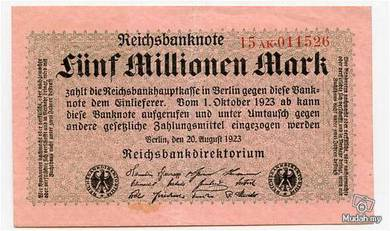 Germany 5000000 marks 1923 vf-xf