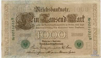 Germany 1000 marks 1910 vf green