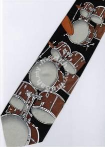 Rock Drum Set Musical Instrument BROWN Neck Tie