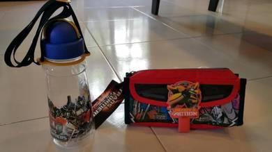 Transformer children water bottle pencil case box