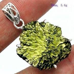 Natural moldavite 925 silver pendant