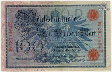 Germany 100 marks 1908 vf red