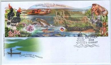 Miniature Sheet Overprint Rivers In Malaysia 2018