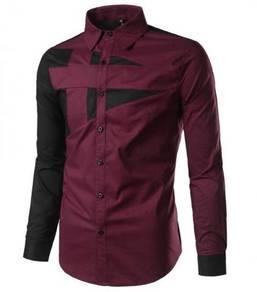 0589 Kemeja Lengan Panjang Merah Formal Shirt Red