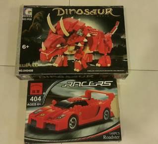 Ligao brick Toy(like lego) dinosaur racers car