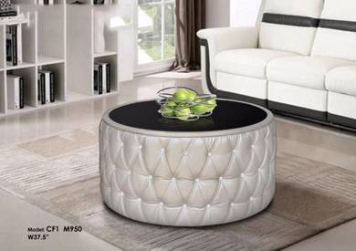 Leather Glass Coffee Table
