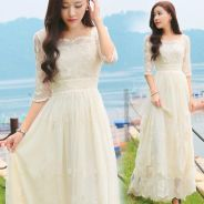 White yellow short sleeve boho maxi dress prom