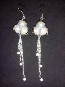 Handmade Triangle Pearl Drop Earrings