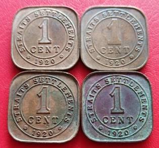 Straits Settlements 1 Cent 1920 (4 pcs - D )