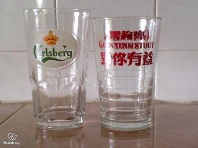 Cawan Carlsberg guinness glass cup old 2