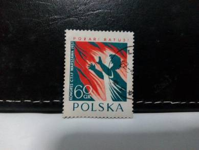 1957 Poland Stamp, Fire, Child
