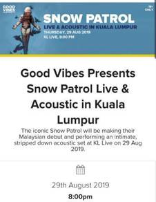 Two Snow Patrol live in KL tickets