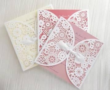 White Laser Cut Wedding Card