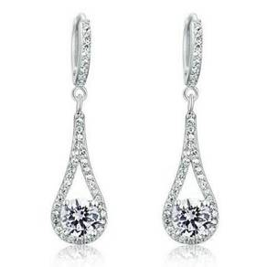 1 Carat Round Cut Solid S925 Dangle Earrings