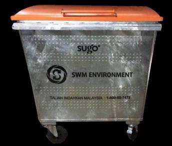 Galvanize Mobile Garbage Bin 660 Litres MGB Tong