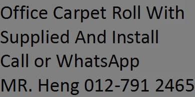 Classic Plain Design Carpet Roll with Install SA94