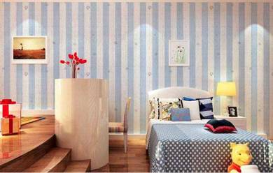 Self-Adhesive Wallpaper-Light Blue Line with Star