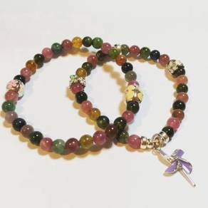 Natural Tourmaline with Silver Charm Accessories
