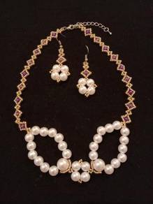 Golden Violet White Pearl Necklace Earrings Set