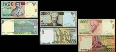 Indonesia 1000 2000 5000 rupiah 1992 2011 unc