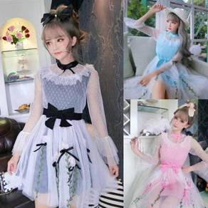 Black white pink blue puffy maid lolita prom dress