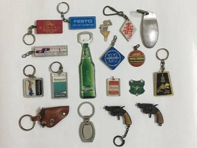 18pcs Vintage Various Rantai Kunci Keychain