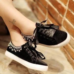 Black velvet diamond cute shoes RBH0221