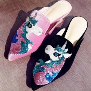 Black/pink unicorn slip on heels RBH0224