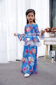 COOLELVES Flower Peplum Kurung Dress-BLUE