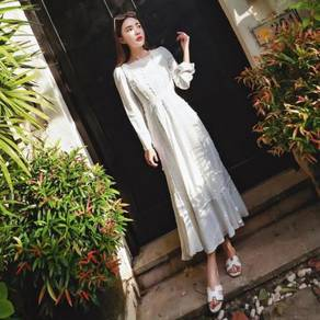 White long sleeve boho maxi dress elegant prom