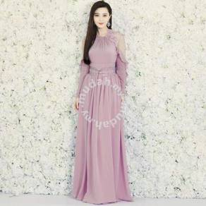 Purple long sleeve fan bing bing maxi dress prom
