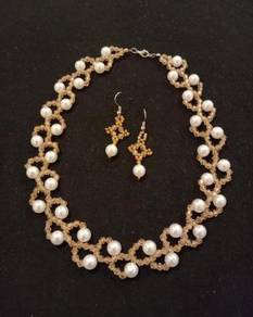 Handmade Champagne White Pearl Necklace Earring