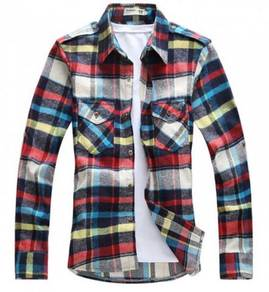 0517 Colorful Plaid Man Slim fit Long-Sleeve Shirt