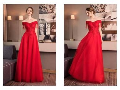 Red off shoulder wedding bridal prom dress RBP0610