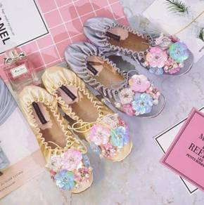 Yellow grey flower diamond cute shoes RBH0223