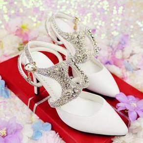 White diamond wedding heels party clubbing RBH0228